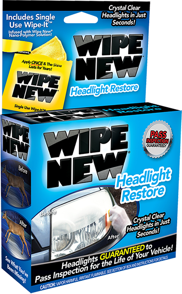 WIPE NEW Headlight Restore Product. Crystal Clear Headlights in Just Seconds! Headlights GUARANTEED to Pass Inspection for the Life of Your Vehicle!. Available from Carparts 2U Penrith Sydney Online Shop